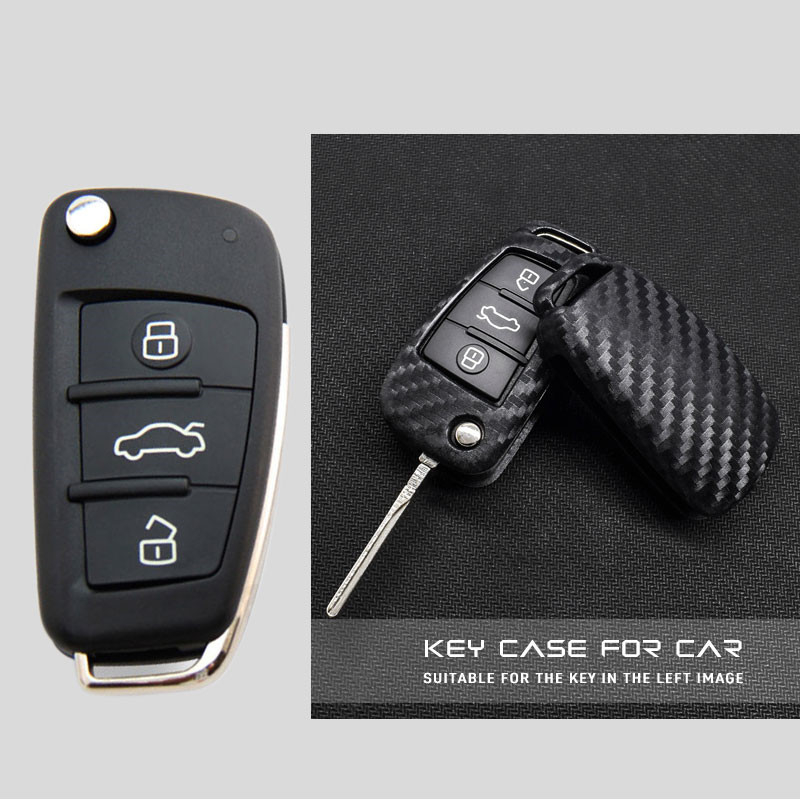 Ceyes Car-Styling Auto Fold Carbon Fiber Grain Shell Protection Cover Case For Audi A3 A4 TT A4L A6L Q7 Q5 A5 A7 Car Accessories