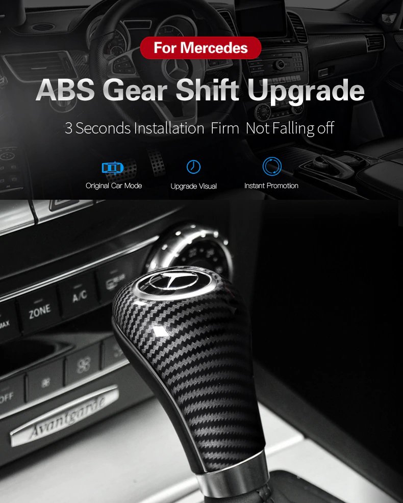 For Mercedes w204 w212 car modification ABS Gear Shift Cover car stickers and decals styling For C E A G class CLS accessories