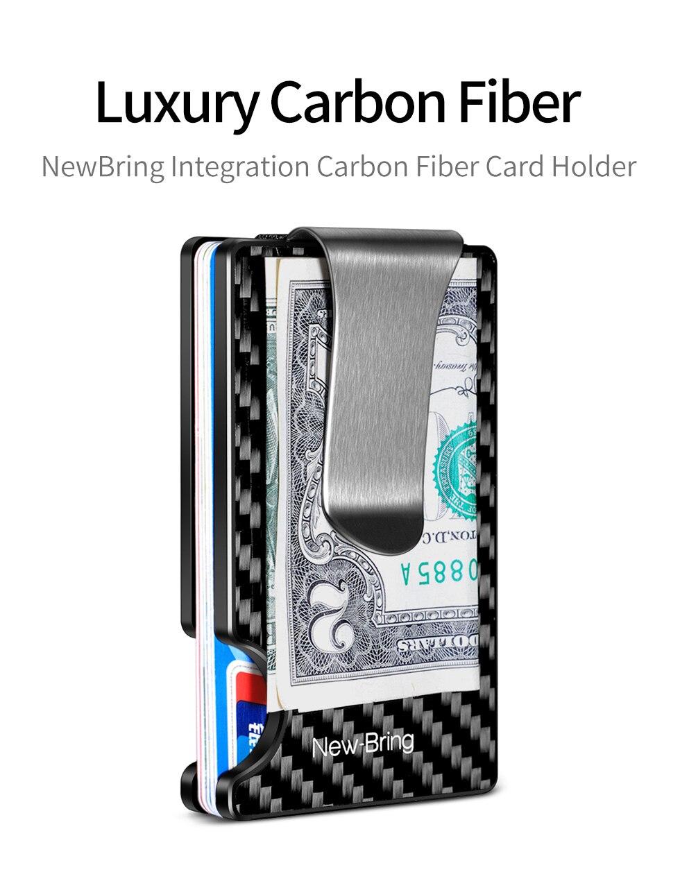 NewBring New Minimalist Carbon Fiber Wallet RFID Blocking Card Holder Credit Card Case For Men Women Male Female Money Purse