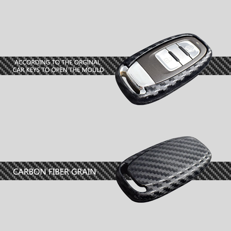 Ceyes Auto Carbon Fiber Shell Car Styling Protection Cover Case For Audi A4 A4L A5 A6 A6L Q5 S5 Sticker Smart Button Accessories